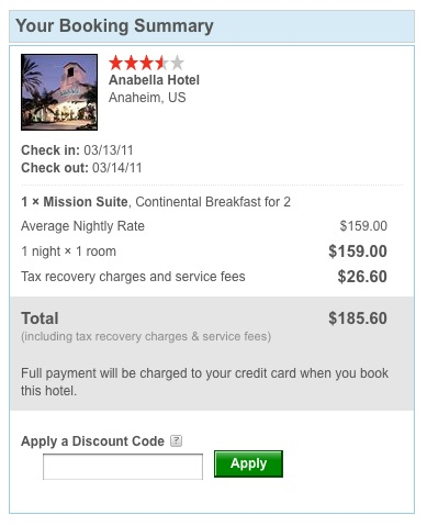 Coupon codes for hotel discounts