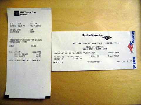 ATM Receipts – Wells Fargo vs Bank of America