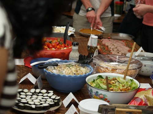 sharing meal costs by creating a long running potluck dinner
