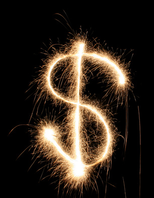 New Year's firework dollar sign