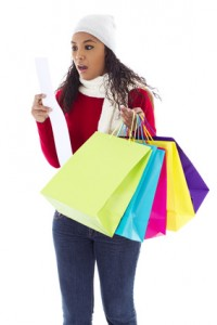 Woman receipt shopping bags