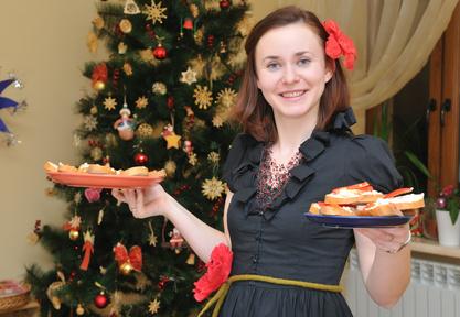 Woman at holiday party