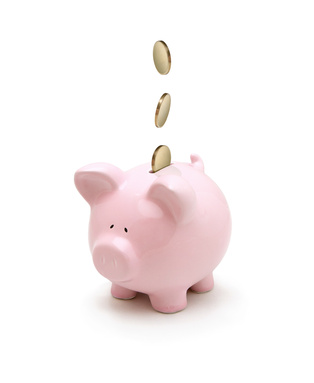 Coins falling into a piggy bank