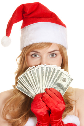 Christmas woman with dollars