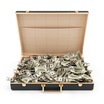 Suitcase with Heap of Dollar Bills