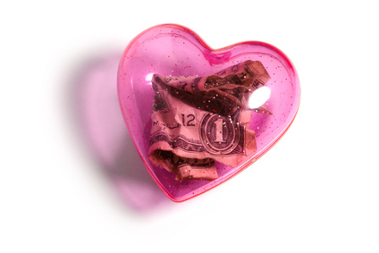 Pink heart and dollar
