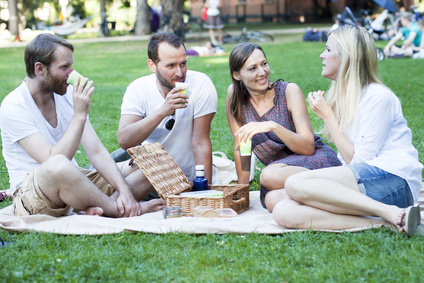 Freunde im Park beim Picknick