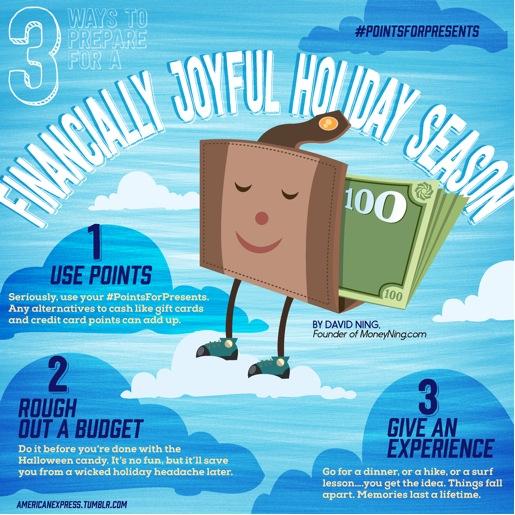 """pripraviť-finančne-radostné-sviatočné-sezóna """"width ="""" 640 """"výška ="""" 640 """"srcset ="""" https://moneyning.com/wp-content/uploads/2013/11/prepare-financially-joyful-holiday-season .jpg 515w, https://moneyning.com/wp-content/uploads/2013/11/prepare-financially-joyful-holiday-season-150x150.jpg 150w, https://moneyning.com/wp-content/uploads /2013/11/prepare-financially-joyful-holiday-season-300x300.jpg 300w """"veľkosti ="""" (maximálna šírka: 640px) 100 Vw, 640px """"/></p> <h2><strong>3. Nezabudnite, že zážitok je tiež skvelý darček.</strong></h2> <p>Niekedy je ťažké kúpiť dokonalý darček. Nehľadajte to v obchode. Zvážte namiesto toho ponúknuť priateľovi alebo vášmu partnerovi skutočný zážitok. Vezmite ho na večeru alebo na túru alebo na lekciu surfovania … získate predstavu. Aj keď sa samotná udalosť ukáže ako chlap, vy a váš spoločník si v tom procese vytvoríte veľké spomienky. Môj obľúbený spôsob, ako sa dostať k týmto druhom zážitkov: vyskúšajte program odmien z kreditných kariet. Mnohí vám dajú viac peňazí za vaše peniaze, ak použijete body na zážitky a nie na majetok. A ak máte pocit, že sa blíži, ak nenechávate krásne zabalený darček na prahu niekoho, nezabudnite: veci sa rozpadajú, ale spomienky trvajú celý život!</p> <p>Koniec roka môže byť drahý, ale nemusí to zlomiť vašu banku. Postupujte podľa týchto jednoduchých pravidiel a nikdy sa neobávajte o najšťastnejšej dobe v roku.</p> <p><em>Aj keď tu poskytnuté názory sú úplne moje, tento príspevok je napísaný pre American Express v rámci iniciatívy #PointsForPresents, kde sme odmeňovaní, aby sme pomohli vzdelávať spotrebiteľov v oblasti finančných rozhodnutí. A len v prípade, že sa obávate toho, že ste na tento rok príliš """"na cestách"""", môžete si teraz stiahnuť novú a vylepšenú aplikáciu American Express, aby ste z smartfónu mohli využívať body za členstvo, a to takmer na všetko a všetko.</em></p> <p class="""