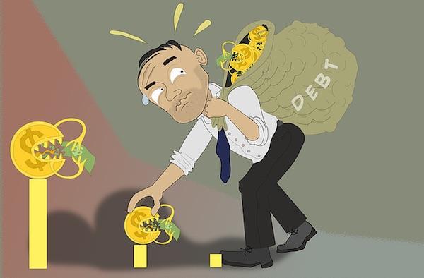 under heavy debt